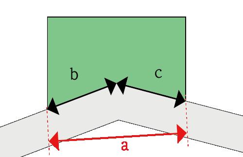 屈折路に外接する土地の接道距離