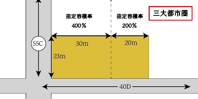 指定容積率の異なる地域にまたがる地積規模の大きな宅地