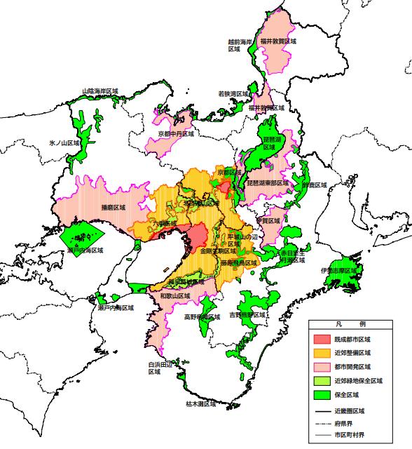 近畿圏政策区域図