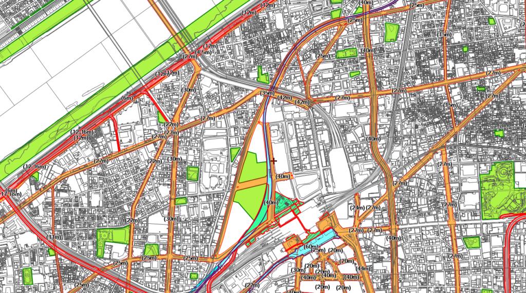 都市計画図(大阪市梅田駅周辺)