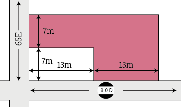 側方路線影響加算ではなく、二方路線影響加算を行う場合の計算例