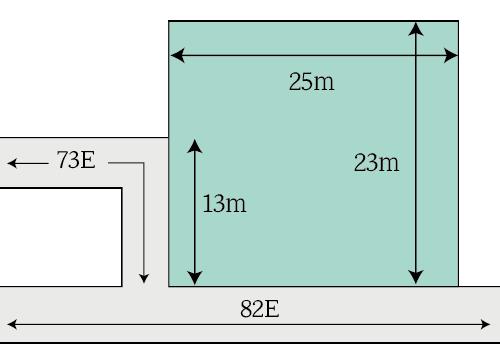 側方路線影響加算に当たり影響率を考慮する場合の計算例(一部接道)
