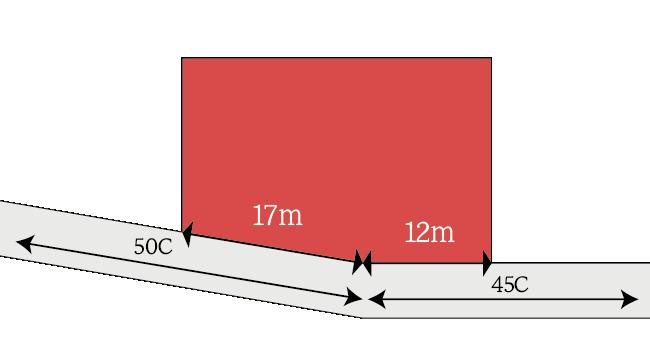 正面路線が複数の路線から構成される場合の計算例(屈折路)