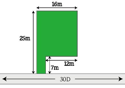差引計算による奥行価格補正をする場合の計算例